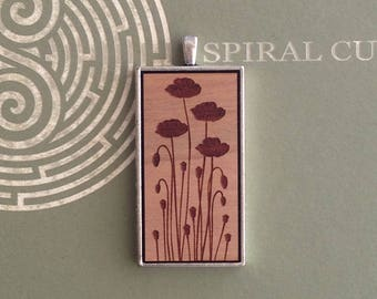 Silhouette Poppy Flower Design - Laser Cut and Engraved Wood Pendant Necklace.