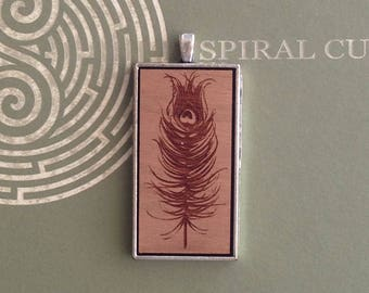 Feather Design - Laser Cut and Engraved Wood Pendant Necklace.