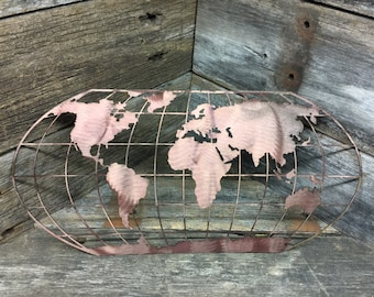 world map metal art patina