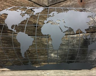 World Map Metal Art, wall decor, home decor, United States, world, metal decor, metal art, art, unfinished metal, powder coated, decoration