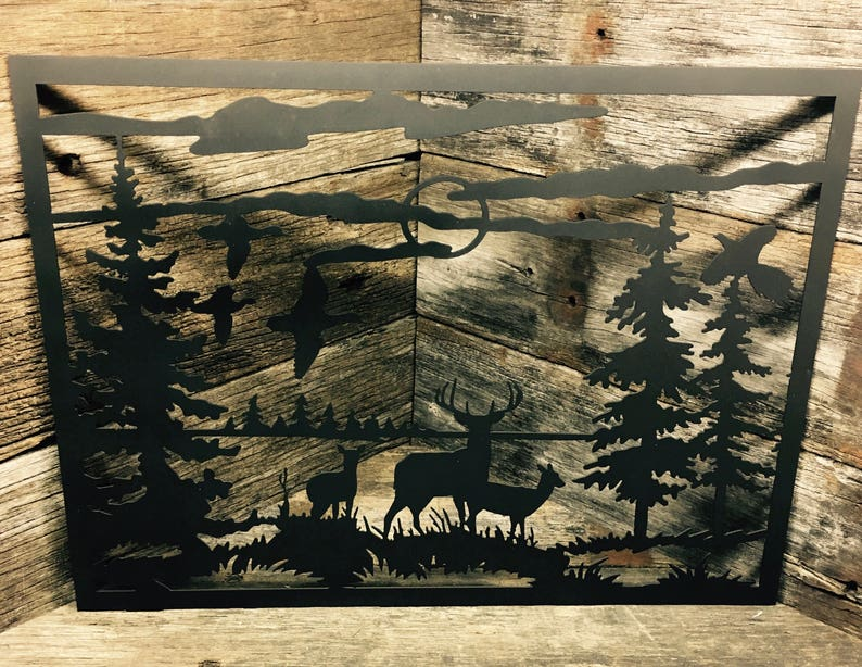 Deer Scene Art Hunting Metal Decor Wall