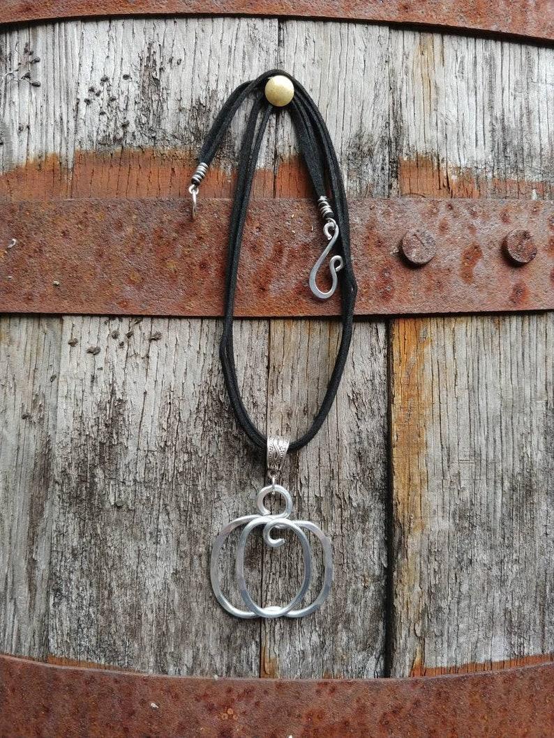 Pumpkinfall boho pendant necklace boho choker jewelry Pumpkin  bohemian halloween fall fashion pendant jewelry boho hammered wire silver