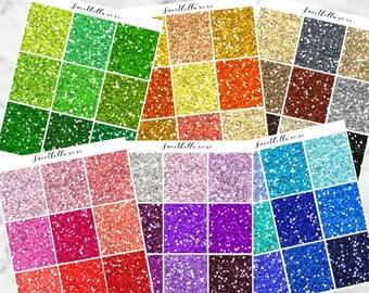 GLOSSY Chunky Glitter Headers / Glitter Planner Stickers / Glitter Headers / ECLP