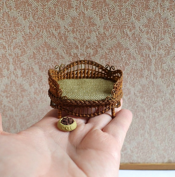 Tiny White Wicker Basket  Dollhouse Miniature 1:12 Scale