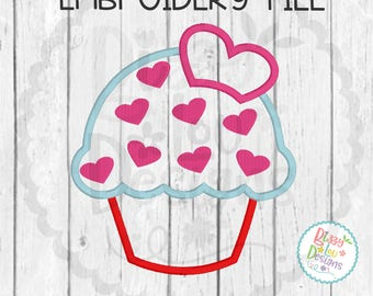 Valentines day embroidery design heart cupcake embroidery design love embroidery valentines embroidery cupcake embroidery applique cupcake