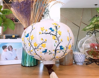 Easy to put light bulb inside for lighting fabric color Personalized by shape Hand painted with flower 1 UFO lantern 30cm size