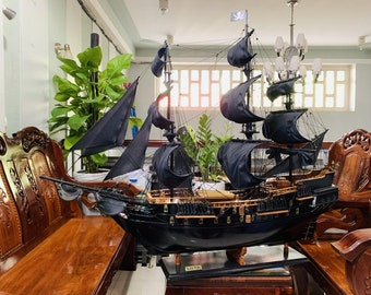 """Black Pearl Model Ship - Pirates of the Caribbean model ship - Jack Sparrow ship - Wooden Model Ship - Size 24"""" or 32"""""""