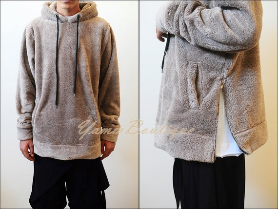 Oversized Raf Bubble Furry Sherpa Front Half Zip Sherpa Hoodie -Unisex Side Slit Warm Sherling Sweatshirt Winter hopzL71m