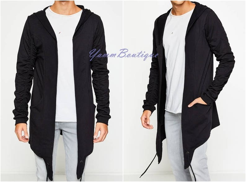 de6fabba4d31fd Asymmetrical Cut Dark Black Oversized Men s Cardigan Long