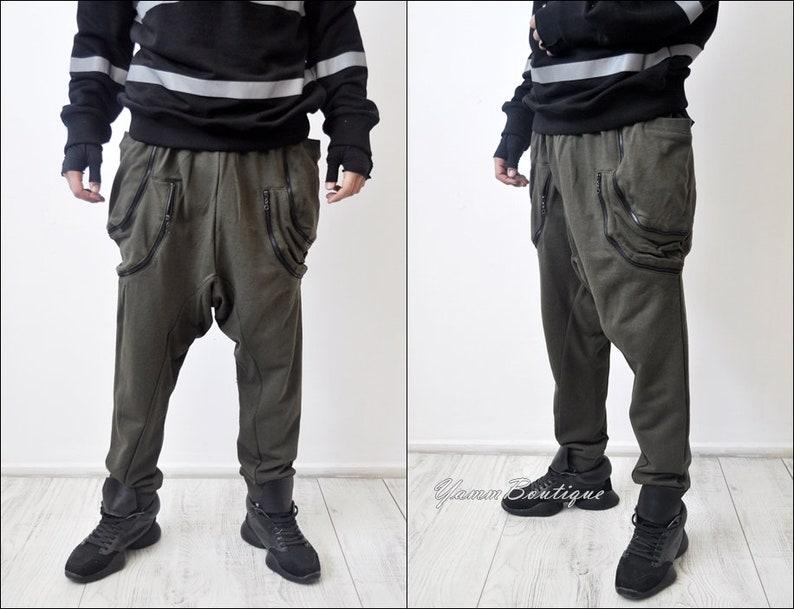 Asymmetric Extravagant Baggy Black Loose Casual Drop Crotch Multi-zippered Pockets Harem Pants  Streetwear  Steampunk  Hiphop  Gothic