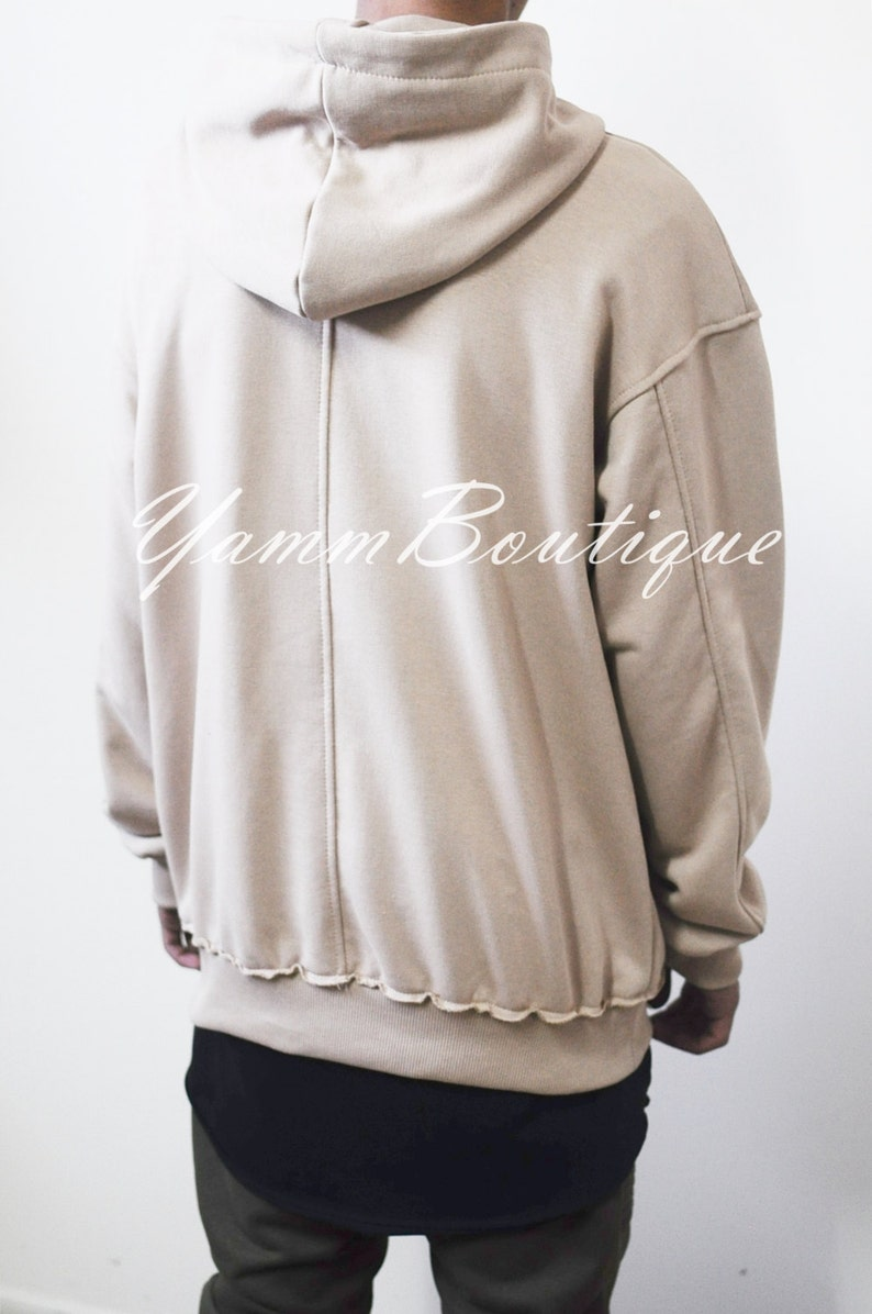 Oversized Essentials Men/'s Raw Edge 80/'s Sweater Oversized Fit Dropped Shoulder  RearNeck Badge Kanye Hoodie