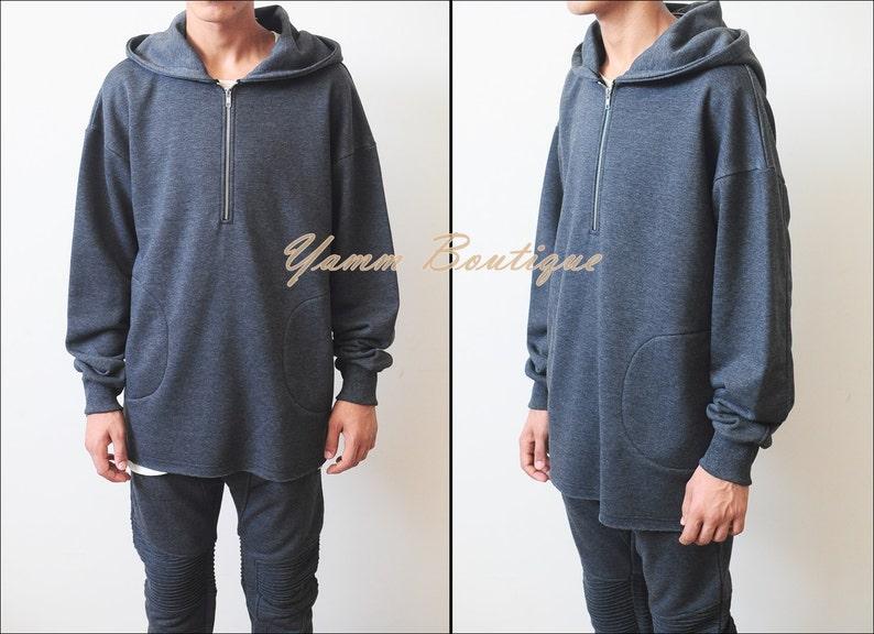 Winter Essential Raw Half Zip Hoodie  Oversized Men/'s Sweater Drop Shoulder  RearNeck Badge Kanye Hoodie