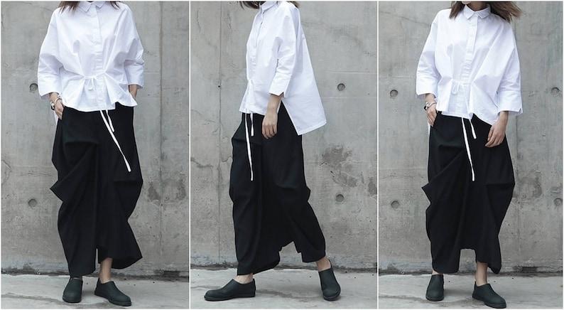 Women Linen Original Design High Waist Wide Leg Culottes Big Crotch Harem Pants Asymmetrical Slacks Trouser