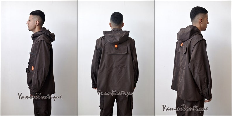 2 Pieces Brown Sets Men Fashion Detachable Cargo Waistcoat With Pockets Military Jacket And Loose Fit Elastic Waist Buckle Pants Hip Hop