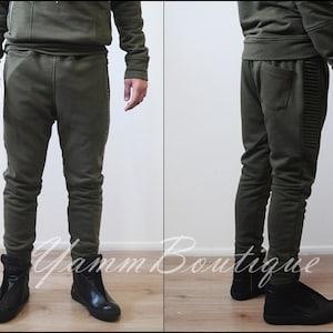 Men/'s Low Drop Crotch Harem Pocket Relaxed Sweatpants Slim-Fit Zip Pocket Trouser Cargo Pants  Techwear