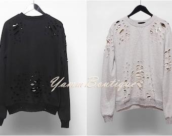 Destroyed Distressed / Ripped Frayed Essential Sweatshirt Pullover / Oversized Men's Low Drop Shoulder / Kanye Hoodie