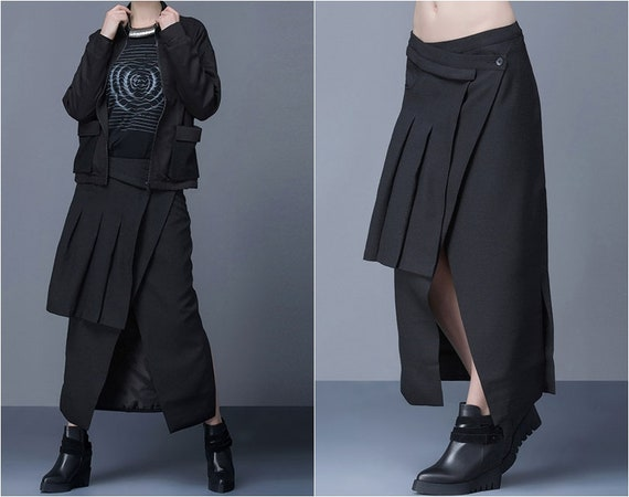 Half Skirt Split Fork Ruffle Irregular Detachable Wrap Pleated Skirt Original British Skirt Sarrouel Ninja Wide Leg Yamamato