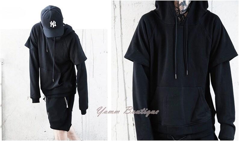 970f36770 Men's Double Sleeve Long Hoodie Pullover Sweatshirt / BM | Etsy