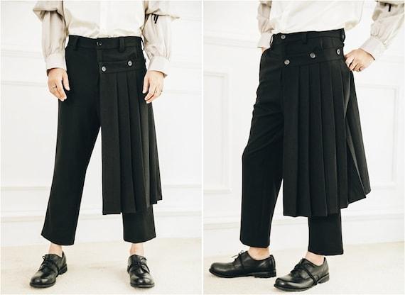 Detachable Wrap Skirt Men's Original British Skirt Layer Suit Pants Pleated Skirt Pants Catwalk Sarrouel Ninja wide leg sports Casual