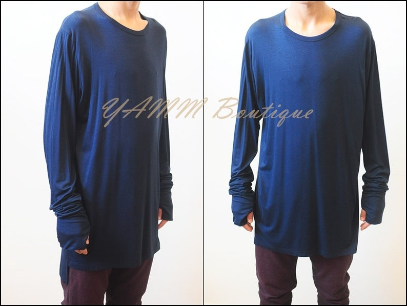 e037124c79 Mens Extended Essentials Long Sleeve Wide Neck Side Slit Lengthen Long Tee  / elongated sleeves and thumb hole cuffs Neon Blue