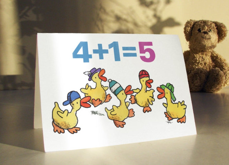 5 LITTLE DUCKS 5th Birthday Card For Five Year Old