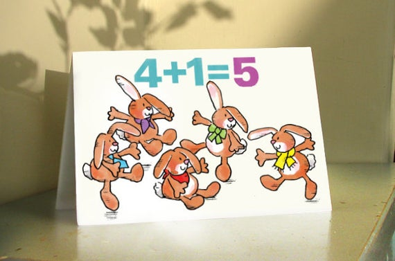 5 HAPPY BIRTHDAY BUNNIES 5th Birthday Card Year Old