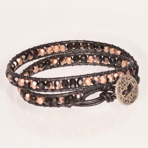 4a59aad0c5069 Black Leather Wrap Bracelet Chan Luu Wrap Bracelet Boho Chic