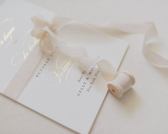 Silk Ribbon Light Nude for the Wedding Papeterie, SET 5 or 10 PCS, Wedding Invitation Cards, Wedding Invitation, Wedding Invitation