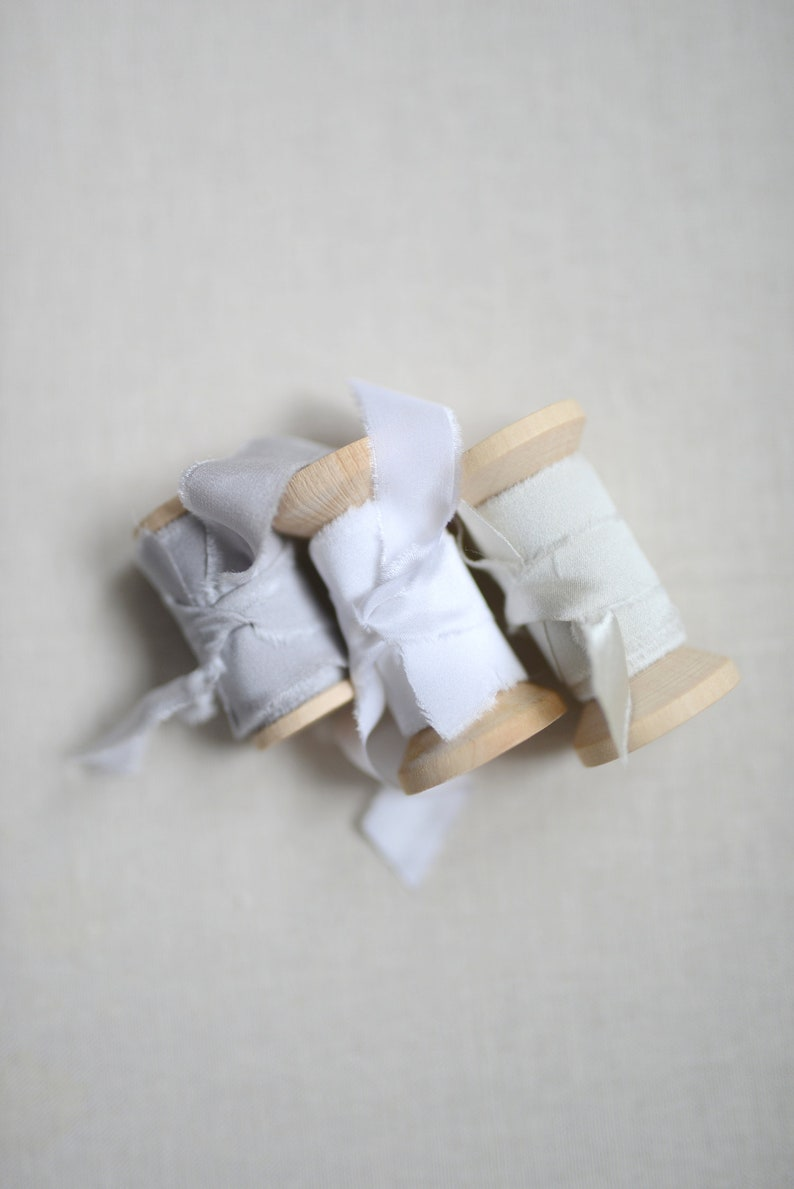 silk ribbons grey and white for the bridal bouquet Silk ribbons in champagne wedding white wedding decorations bouquet bridal bouquet ribbons