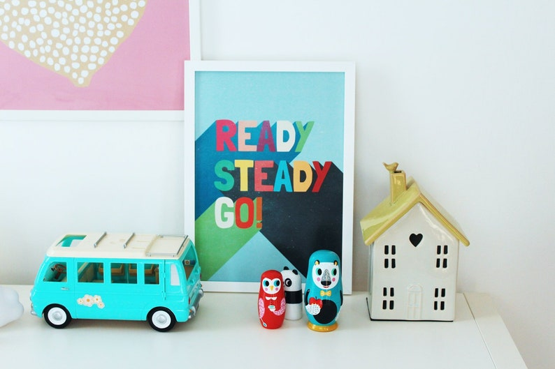 READY STEADY GO // Blue // Original Art Print // A3 // image 0