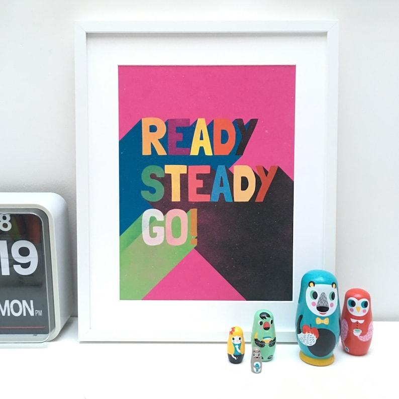 READY STEADY GO // Pink //  Original Art Print // A3 // image 0