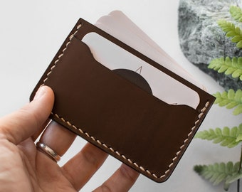 Leather cardholder DARK CHOCOLATE, Leather Card wallet, Slim leather wallet