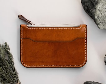 Leather coin purse, Coin wallet, Slim leather wallet, slim card holder, gift for him