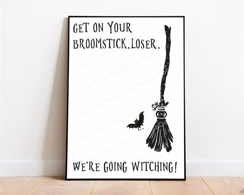 Digital Illustration Print Broomstick Witch Wall Art Spooky Home decor Funny witchcraft aesthetic Witchy art decor Wiccan Home Decor