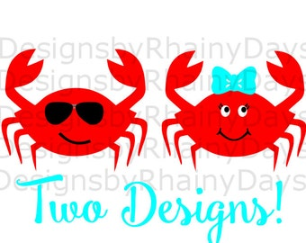 Buy 3 get 1 free! Crab cutting file, SVG, DXF, png, Crab girl, Crab boy, cute crab, cool crab, beach, crab with bow. crab with sunglasses