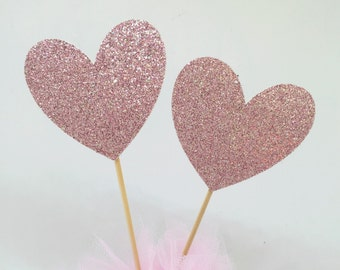 Pink Glitter Heart Cupcake Toppers, Wedding, Bachelorette, Bridal Shower, Birthday Party, Baby Shower