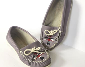 90s Minnetonka Moccasins / Size 5 Shoes / Purple Slip on Womens Loafers