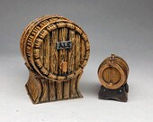 Painted wine, beer and whiskey resin kegs tavern furniture Dungeons Dragons miniatures Pathfinder Frostgrave Warhammer 40K DnD Drinking