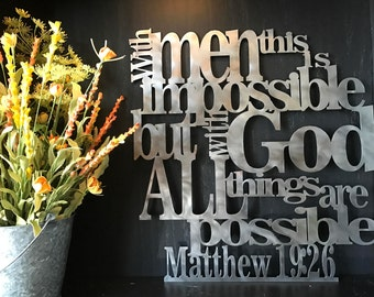 Matthew 19:26 With God All Things Are Possible Metal Home Decor Art Wall Hang