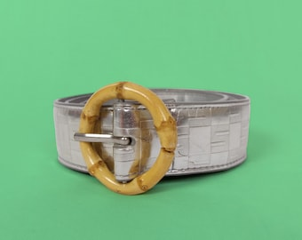 Vintage Hard Plastic CreamBeige Bamboo Style Belt Buckle
