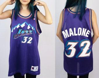 CHAMPION NBA Vintage 90 s Unisex Karl Malone 32 Utah JAZZ Basketball Jersey    Tank Top  905b59d22
