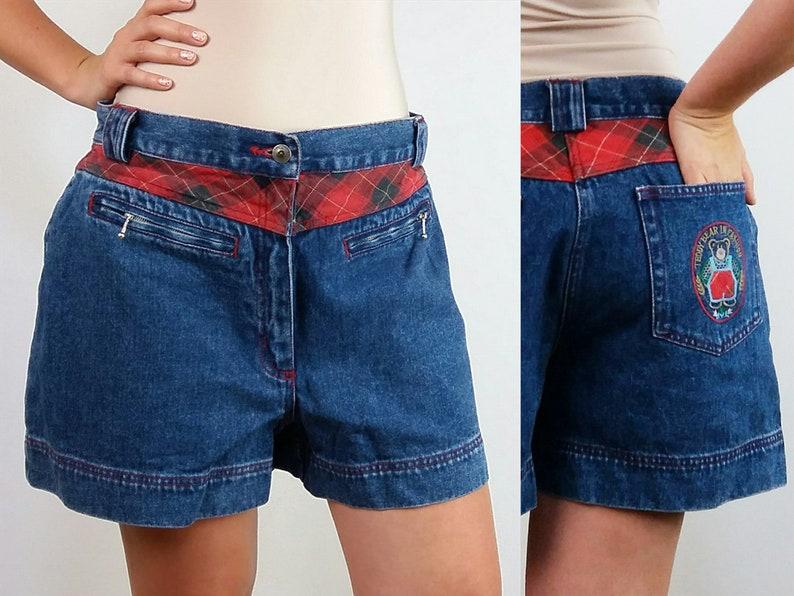 Vintage 80/'s Denim Shorts Plaid Inserts Teddy Bear Patch  Size M-L