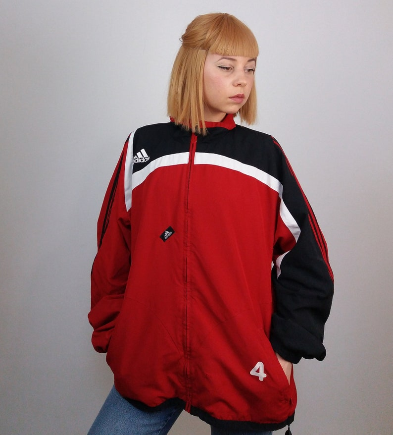 ca9179bb4e Vintage 90 s Adidas Unisex Track Jacket in Red and Black