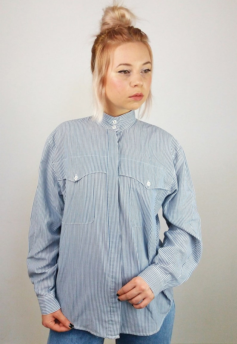 04faa0866fc53c Vintage 90 s Minimalist Button-up Pinstripe Shirt   Blouse