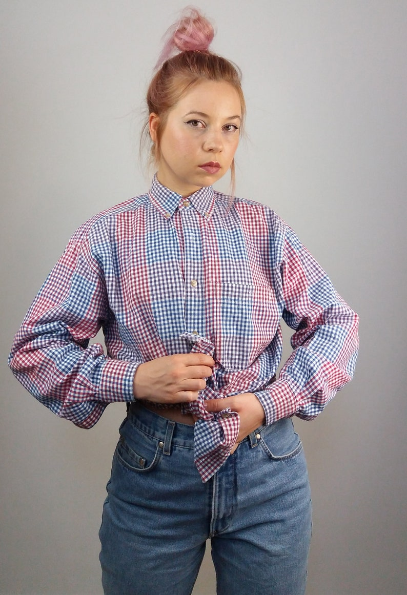 5a95ba2a1cf569 Vintage 90 s Gingham Oversized Button-up Shirt Red Blue