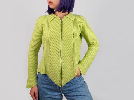 Vintage 90's Ribbed Knit Zipper Cardigan Asymmetri