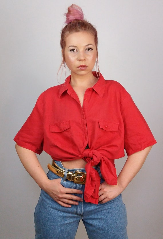 06ffc0f1ab188f Vintage 90 s Oversized Linen Shirt   Blouse in Red