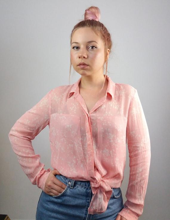 508a22d18c39bd InWear Vintage 90 s Sheer Silk Pink Blouse   Shirt   Top