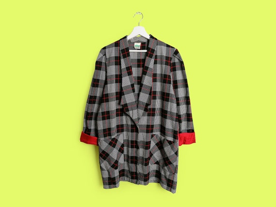 Vintage 90's Oversized Black White and Red Check B