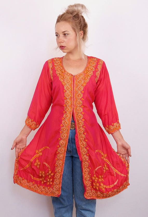 Authentic Boho Top Indian Indie S Tunic Embroidery Embelished Kurta Pink LOVELEEN M Tunic Orange Kurti Dress Top Beaded d6dq1gw
